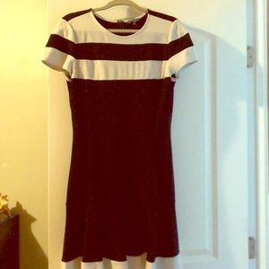Black and White Flounce Shift Dress